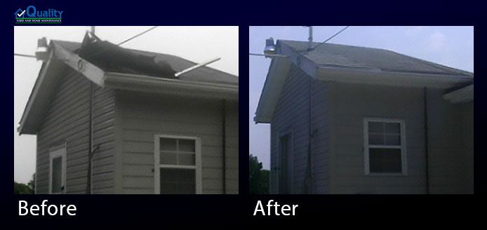 Before and After Repair Storm Damaged Roof