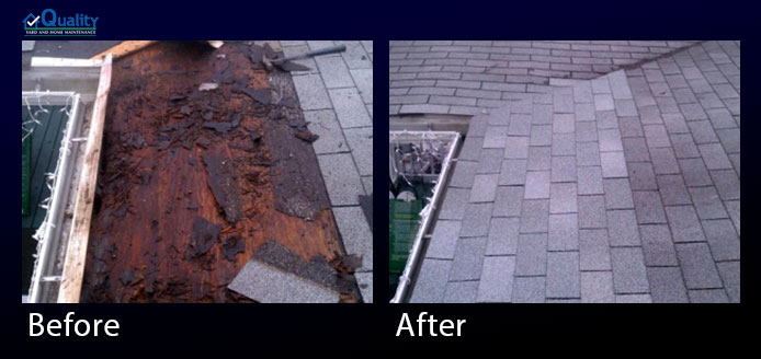 Before and After Repair Rotten Wood and Leak in Roof