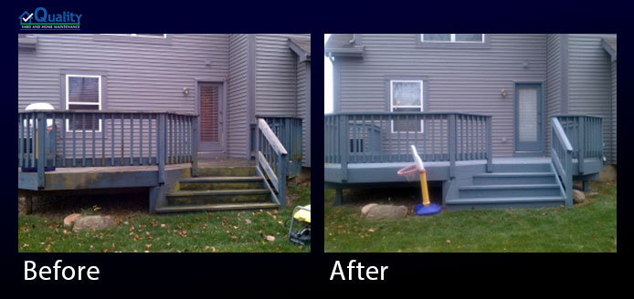 Before and After Powerwashed and Stained Deck and Painted Back Door