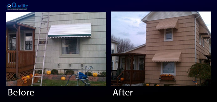 Before and After Painted Sidings, Trim, Gutters, Doors, Stained Deck and Installed Plastic Lattice