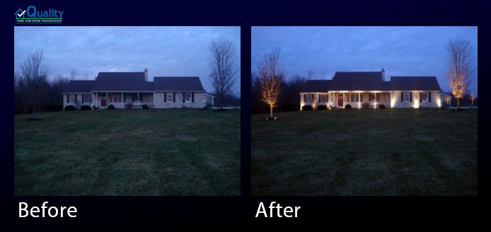 Before and After Installed Landscape Lighting