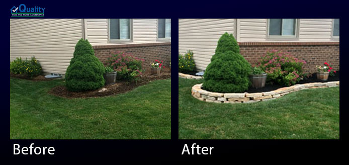 Before and After Landscaping Wall and Mulch