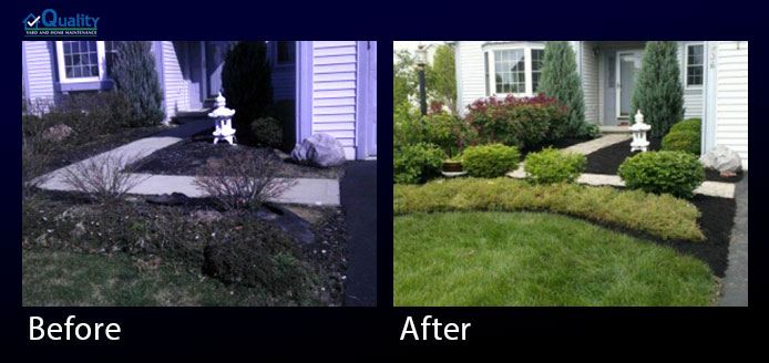 Before and After Landscaping - Edge and Mulch