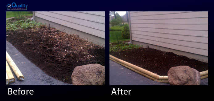 Before and After Landscaping - Roto Tilled, Added Topsoil, Installed Landscape Timber