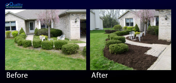 Before and After Landscaping - Mulch, Edged and Killed Weeds
