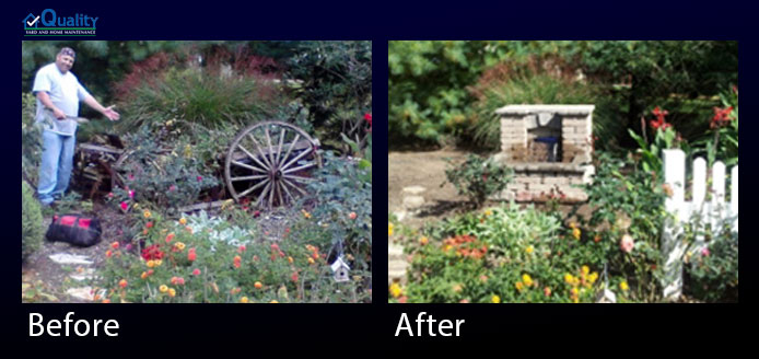 Before and After Landscaping - Cleaning Up and Installing Water Fountain