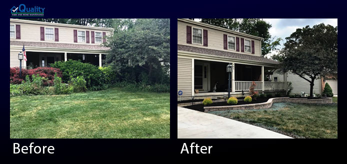 Before and After Pavers and Retaining Wall